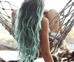 hair, girl, and beach image
