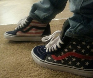 america, shoes, and american flag image