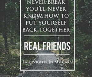 quote, music, and real friends image