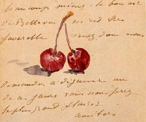 art, cherry, and Letter image