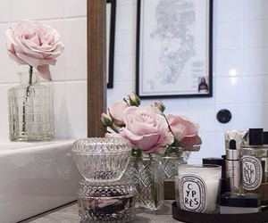 flowers, bathroom, and interior image