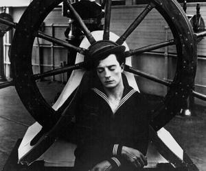 buster keaton, b&w, and sailor image
