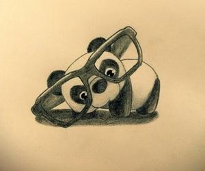 panda, drawing, and glasses image