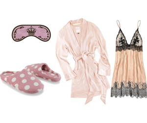 pajamas, Polyvore, and slippers image