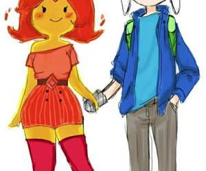 adventure time, finn, and flame princess image