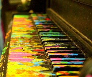 piano, music, and colors image