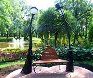 bench, garden, and lamp image
