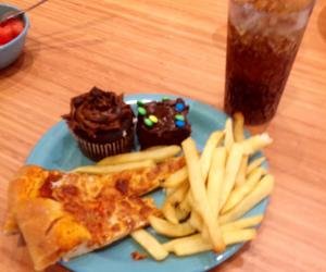 brownie, coke, and cupcake image