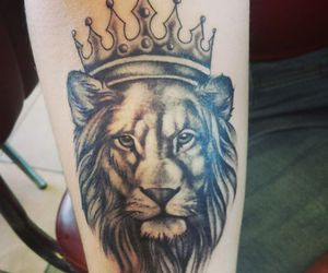 crown, lion, and tattoo image