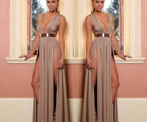 brown, dress, and long image