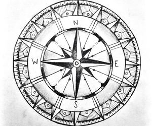 compass, black and white, and draw image