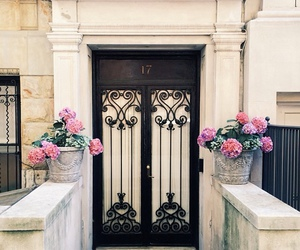 flowers, door, and home image