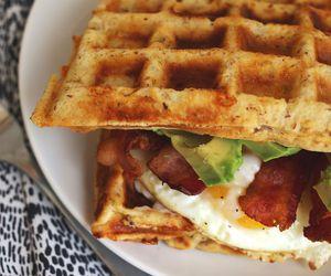waffles, bacon, and egg image
