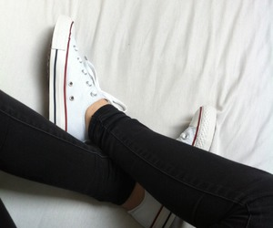 bed, black, and converse image