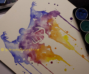 harry potter, patronus, and watercolor image