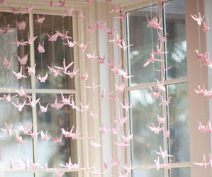 pink, bird, and origami image
