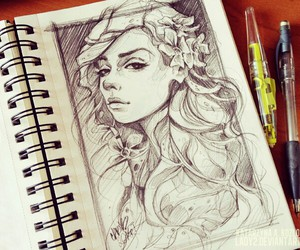 drawing, girl, and cool image