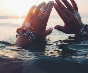 hands, sea, and sun image