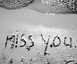 beach, typography, and miss you image