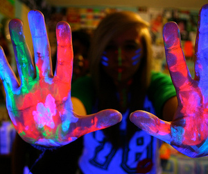 girl, neon, and hands image