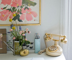 flowers, decor, and desk image
