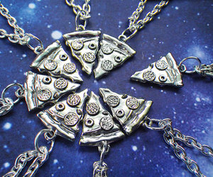 pizza, friends, and necklace image