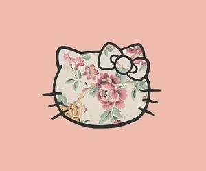 pink, flowers, and hello kitty image