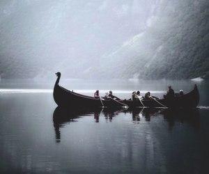 vikings, lake, and boat image
