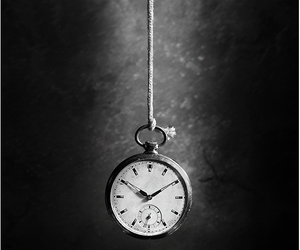 black and white, clock, and photography image