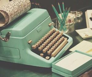 vintage, typewriter, and blue image