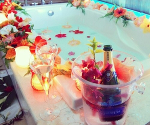 flowers, bath, and champagne image