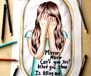 draw, hair, and mirror image