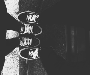 black and white, vans, and shoes image