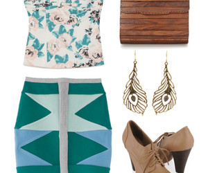 bustier, heels, and clutch image