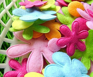 colorful, felt, and flowers image