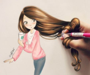 beautiful, dessin, and girls image