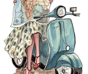 map, travel, and Vespa image