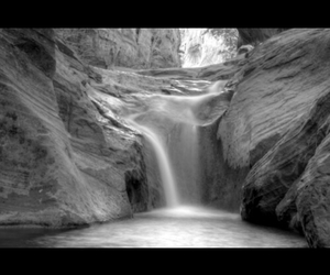 black and white, waterfall, and photography image
