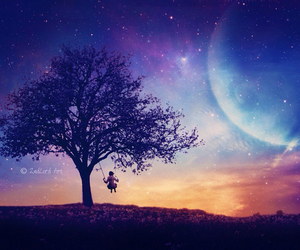 tree, colors, and galaxy image