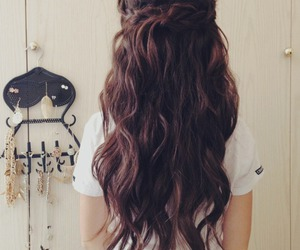 hair, brown, and long hair image