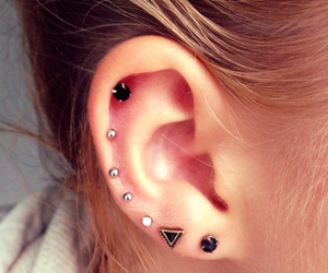 earpiercings, piercedear, and multipleearpiercings image