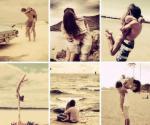 adorable, beach, and couple image
