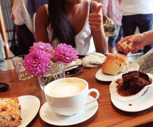 cafe, eating, and flowers image