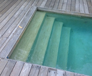 blue, pool, and staircase image