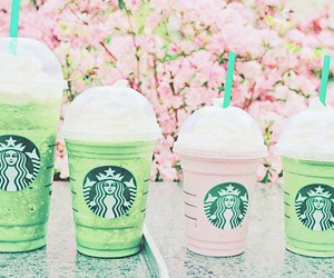 starbucks, pink, and green image