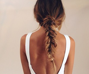 braid, messy, and brunette image