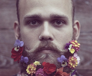beard, flowers, and handsome image