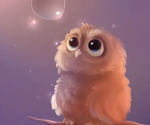 owl, art, and bubbles image