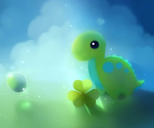 cute, green, and dinosaur image