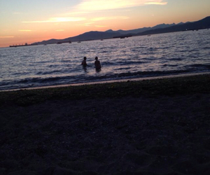 beach, sunset, and vancouver image